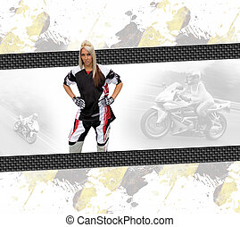 Motorcycle Woman Layout - Young woman wearing a motorcycle...