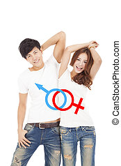 happy couple with sex sign on the whit t shirt