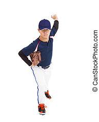 beisball, jugador, cántaro, lanzamiento, Pelota