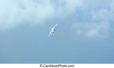 Aerobatics - Su-27 Sukhoi jet fighter performing aerobatic...