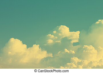 Retro sky and white clouds background