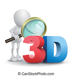 3d man watching a 3d word with a magnifying glass