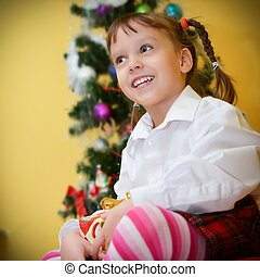 small girls with presents