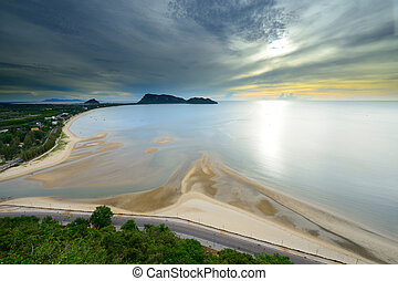 landscape sunrise view of Ao Manao beach in Thailand -...