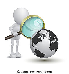 3d person with magnifying glass looking at Earth
