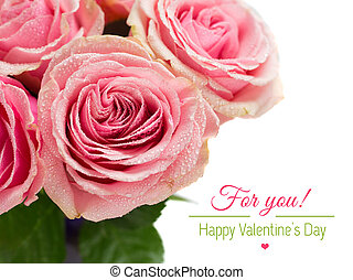 Roses on white background with text. ?lose-up