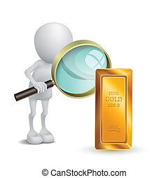 3d person is watching the gold with a magnifying glass