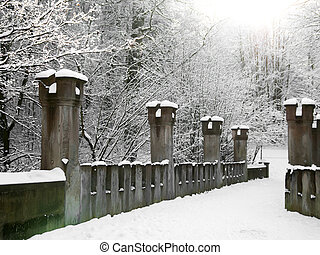 Old stone bridge in the winter, germany Gera. Osterstein...