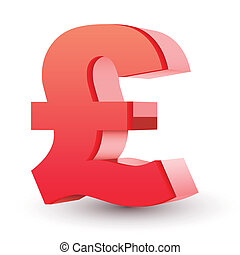 red pound symbol isolated white background