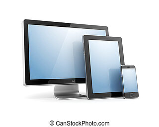 Monitor, tablet computer and mobile phone. Isolated on white