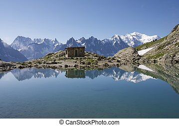 Alps - Mont Blanc Mountains reflected in Lac Blanc, Mont...