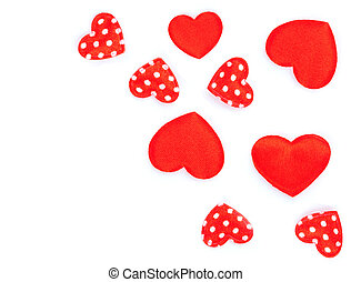 Little hearts, polka dots on white background.