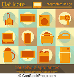 Flat Home Appliances Icons Set - Flat Icons Set - Home...