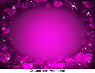 Abstract frame with magenta hearts