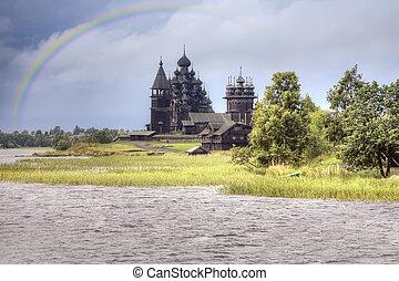 Kizhi Island - View ashore and the Orthodox temple island...