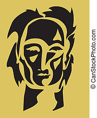 Abstract Man Face - Abstract face silhouette Illustration...