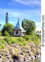 Chapel on an Valaam Island - View of the coast of the island...