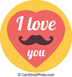 "Flat ""I Love You"" Illustration - Vector Flat Trendy Hipster..."