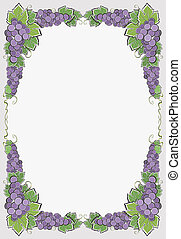 Border With Dark Grape - Luxury composition with bunches of...
