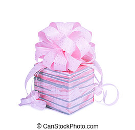 Beautiful Gift box in pink wrapping paper isolated on a...