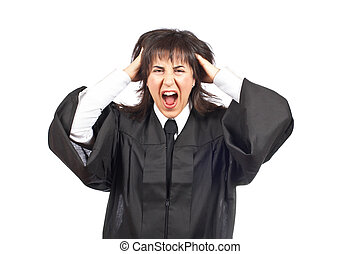Angered female judge portrait over a white background