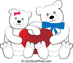 White teddy bears with a big heart