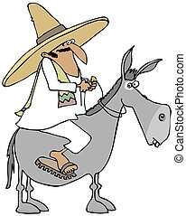 Mexican man riding a donkey - This illustration depicts a...