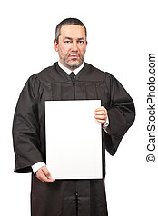 Serious judge holding the blank card - A serious judge...