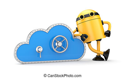 Cloud and safe lock with robot - Security concept. Isolated...