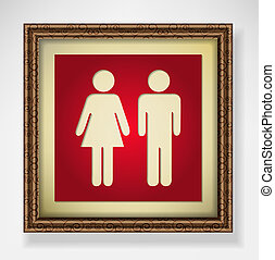 Red toilet sign - Elegant picture frame with toilet sign