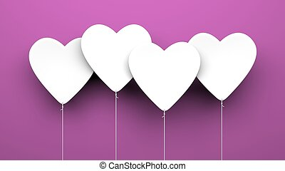 Heart Balloons on purple background Valentines Day metaphor