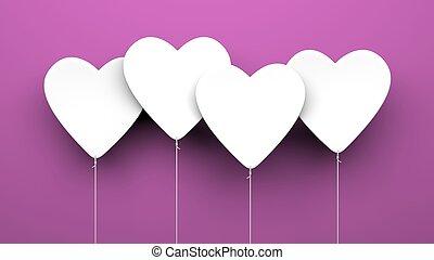 Coração, balões, roxo, fundo