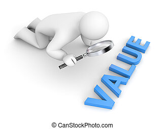 Person examines value - People at work metaphor Isolated on...