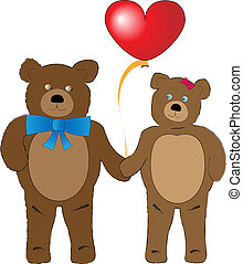 Brown teddy bears with a big heart