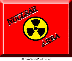 Nuclear Area - Red background with text Nuclear Area,vector...