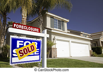 Blue Foreclosure For Sale Real Estate Sign and House
