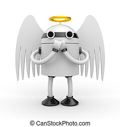 Robot angel - Conceptual image. Isolated on white