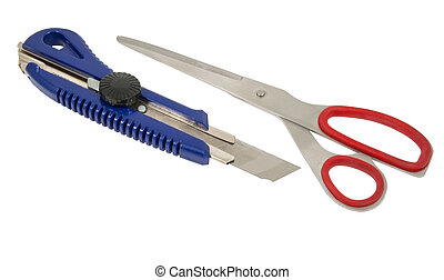 scissors and box cutter isolated on white background