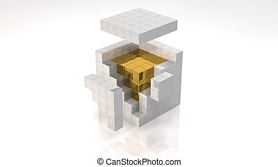 Gold Core Inside Open Cube (with clipping path)