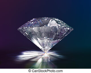 Diamond Side View 3D Illustration on Color Background (with...