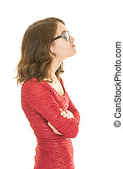 Teen girl pouting - A teenage girl in red dress with...