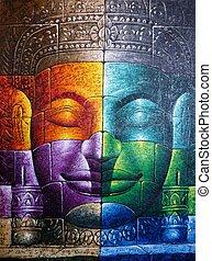 Cambodian Buddha Face - Colored Cambodian Buddha Face...