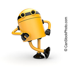 Robot leaning on an imaginary object Isolated on white