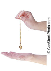 Pendulum - Hands with pendulum isolated on white background....