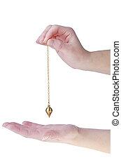 Pendulum - Hands with pendulum isolated on white background....