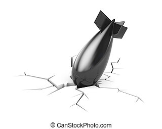 Fallen bomb broke ground - Conceptual image. Isolated on...