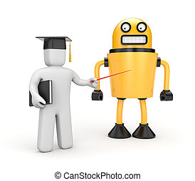 Presentation of the robot - Education concept. Isolated on...