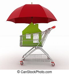 Conception of defense of the real estate for sale. shopping...