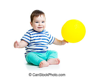Smiling baby boy  with ballon in his hand isolated on white