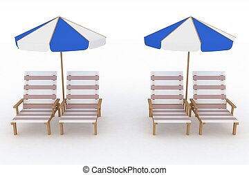 Deckchair and parasol on white background